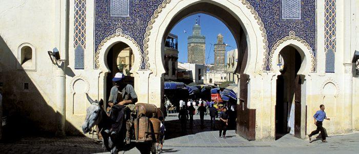Maroc - Fès - Fès el Bali - Bab Bou Jeloud - porte de la ville