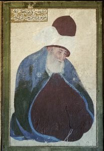 Rumi (also: Jalal ad-Din Muhammad Balkhi, Mevlevi or Mawlana (our Lord). Persian Muslem poet and Sufi mystic, founder of the Order of the ìDancing Dervishesî; Balkh (Afghanistan) 30.9.1207 ñ Konya (Turkey) 17.12.1273. Portrait. Islamic minuature.